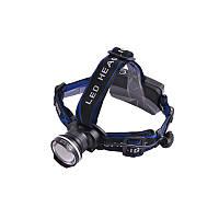 Ультрафиолетовый фонарь на лоб POLICE  12V XQ24-UV 365 nm, ultra strong, 2 акк. 18650