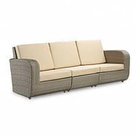 Модульный диван трехместный barbados из ротанга искусственного коричневый