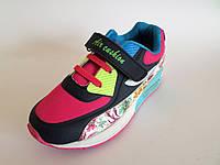 Кроссовки дышащие для девочек на липучке и шнуровке