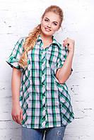 Классическая зеленая рубашка в клетку Ненси ТМ Таtiana 56 размер