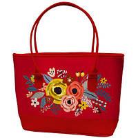 Большая красная сумка шоппер с принтом Букет цветов