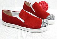 Слипоны Красные Замш камни , фото 1