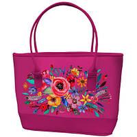 Большая розовая сумка шоппер с принтом Букет цветов