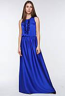 Элегантное женское шелковое платье в пол с рюшей