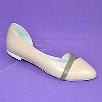 Кожаные  женские балетки на низком ходу. Цвет пудра, визон. 37 размер