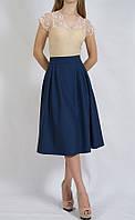 Женская юбка миди французская длина  с карманами 3842 PERSONI Турция