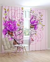 Фото шторы розовый цветок