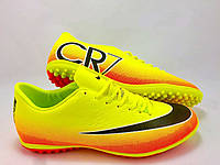 Футбольные сороконожки Nike Mercurial Victory CR7 TF Volt/Black/Citrus