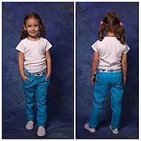 Брюки льняные на девочку, 116 - 152 см. Детские, подростковые тонкие летние штаны. Брюки лето, лён.
