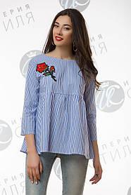 Рубашка, Блуза свободного кроя приятная к телу и легкая с вышивкой 42-44, 46-48
