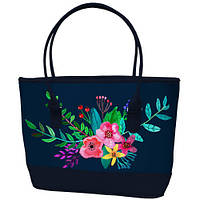 Большая темно синяя сумка шоппер с принтом Букет цветов