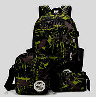 Прочный Рюкзак комплект+сумка+клатч. Черно-зеленый.