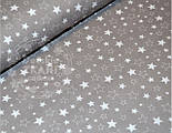Лоскут ткани №607 с серыми и прозрачными звёздочками на сером фоне, фото 2