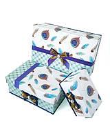 Прямоугольная подарочная коробка ручной работы с яркими перьями