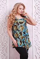Женская стильная туника с принтом Берта ТМ Таtiana 52-62 размеры