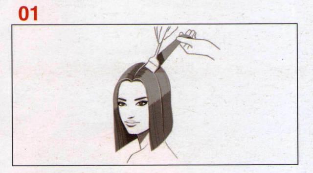 Отделяем прядки ширенной 0,3 сантиметра, наносим смесь Формула А на расстоянии 1,3 сантиметра от корней волос и проходим кистью по средней длине волос и кончикам. Проходим по всем волосам разделенных секций