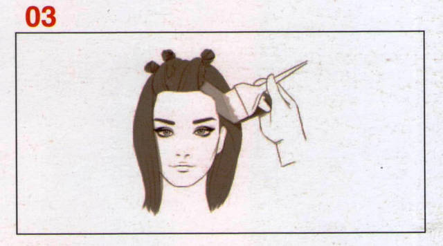 Наносим Формулу С на все волосы от корней до кончиков не трогая разделенные секции, но охватываем волосы между «зигзагами»