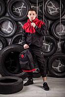 Виндранер, ветровка, куртка весенняя, осенняя, черный+красный