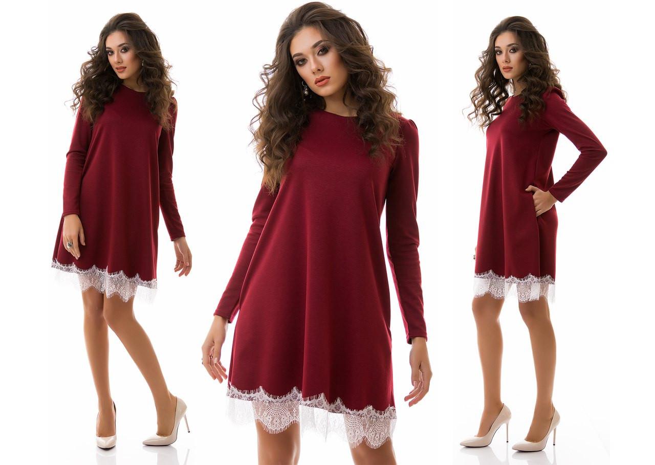 Платье бордовое с кружевами