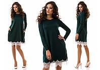 Женское модное темно зеленое платье свободного кроя с карманами и кружевом внизу. Арт-1181/16