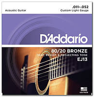 Струны D`ADDARIO EJ13 80/20 BRONZE CUSTOM LIGHT 11-52