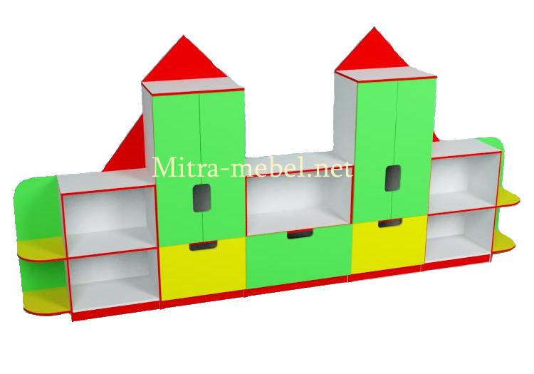 Стенка для игрушек Замок (3800*420*1900h)
