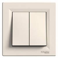 Выключатель 2-клавишный, слоновая кость - Schneider Electric Asfora