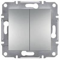 Выключатель 2-клавишный, алюминий - Schneider Electric Asfora