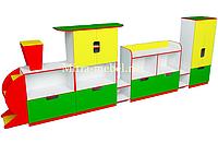 Стенка Паравозик для игрушек  (4500*420*1450h)