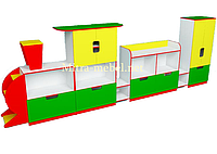 Стенка Паровозик для игрушек  (4500*420*1450h)