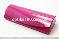 Розовый футляр чехол для очков на магните. Лакированный глянцевый