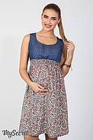 Яркий сарафан для беременных и кормления Layla, синий джинс с штапелем цветы марокко марсала*, фото 1