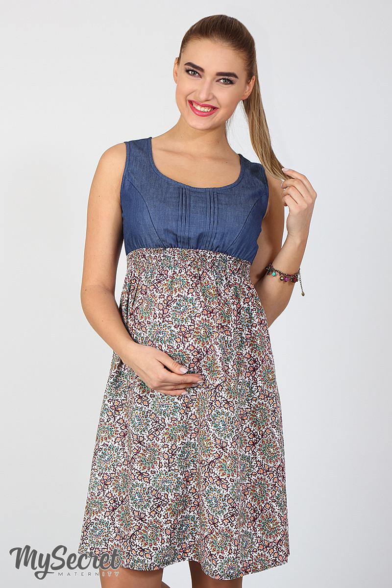 eeaf99377f0e9b Яркий сарафан для беременных и кормления Layla, синий джинс с штапелем  цветы марокко марсала -