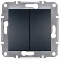 Выключатель проходной 2-клавишный, антрацит - Schneider Electric Asfora
