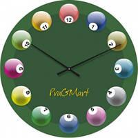 Часы настенные из стекла - Бильярд (немецкий механизм)