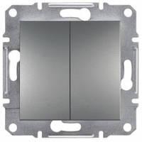 Выключатель проходной 2-клавишный, сталь - Schneider Electric Asfora