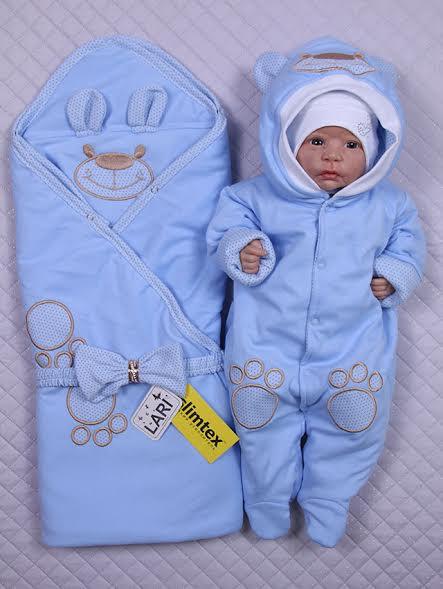 """Демисезонный набор для новорожденных, """"Мишутка"""" голубой"""