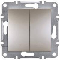 Выключатель проходной 2-клавишный, бронза - Schneider Electric Asfora
