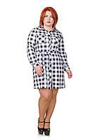 Платье рубашка в клетку  Мари белый/черный (46-52)