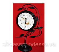 Настольные часы классические на подставке металлические черные с веточками