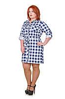 Платье рубашка в клетку  Мари белый/синий (46-52)