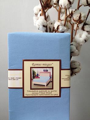 Простынь на резинке трикотажная Nostra 180х200 голубая, фото 2
