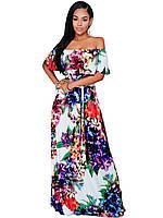 Женское платье в пол с цветочным принтом