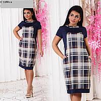 Женское платье больших размеров в клеточку С 1258 гл