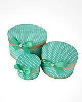 Круглая подарочная коробка ручной работы бирюзового цвета в мелкий белый горошек