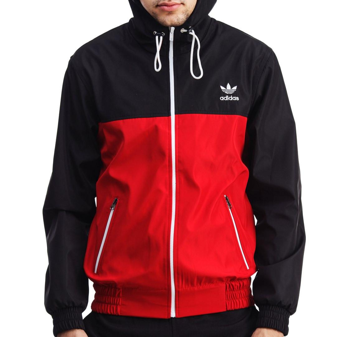 Спортивна чоловіча вітровка в стилі Адідас (Adidas) червона куртка на блискавці з капюшоном плащівка