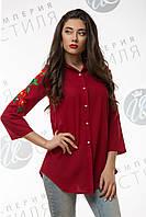 Шифоновая блуза-рубашка бордо, с вышивкой на рукавах 42,44,46