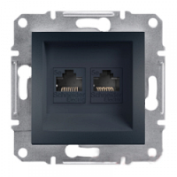 Розетка компьютерная RJ45 кат.5е UTP, 2-гнезда, антрацит - Schneider Electric Asfora