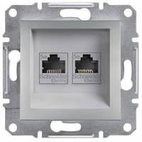 Розетка компьютерная RJ45 кат.5е UTP, 2-гнезда, алюминий - Schneider Electric Asfora