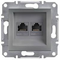 Розетка компьютерная RJ45 кат.5е UTP, 2-гнезда, сталь - Schneider Electric Asfora